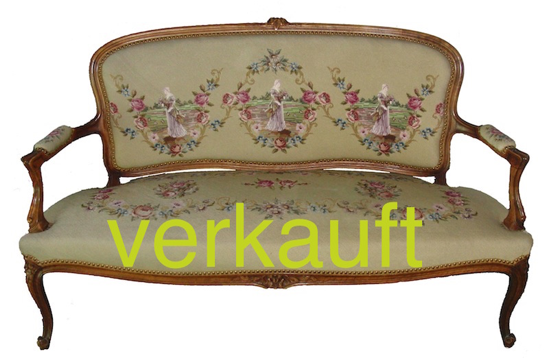 verkauft sofa louis xv mit gobelin bezug edeltr del antike m bel. Black Bedroom Furniture Sets. Home Design Ideas