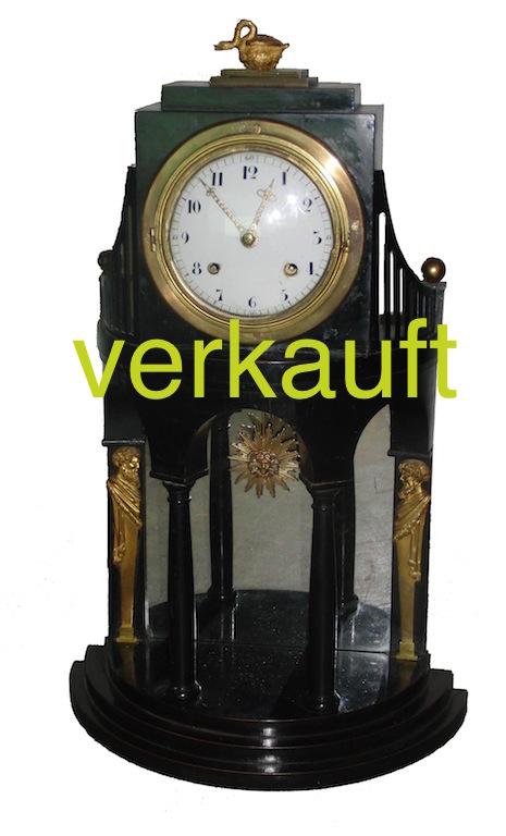 Verkauft Wiener Stutzuhr schwarz Schwan