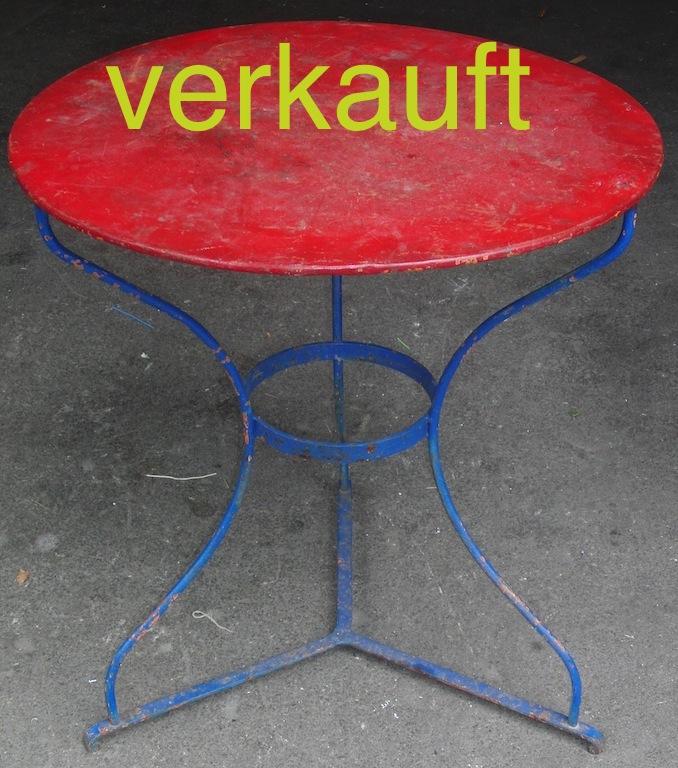 Verkauft Gartentisch rot-blau 8.13A