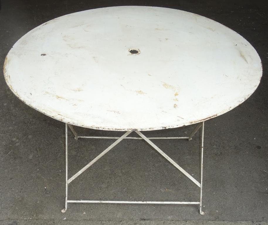 Verkauft Aus Antikem Restaurant Runder Gartentisch 4 Klappbar