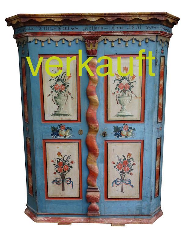 Schrank Rheintal blau bemalt Juni16A verkauft