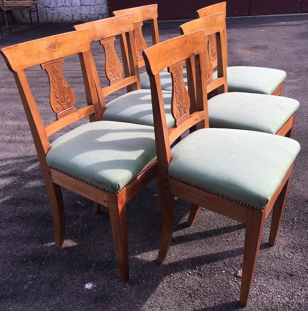 verkauft set von 6 biedermeier st hlen kirschbaum edeltr del antike m bel. Black Bedroom Furniture Sets. Home Design Ideas
